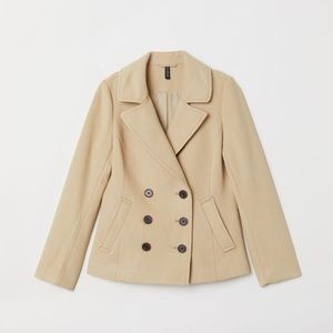 NWT H&M Beige Felted Double Breasted Pea Coat